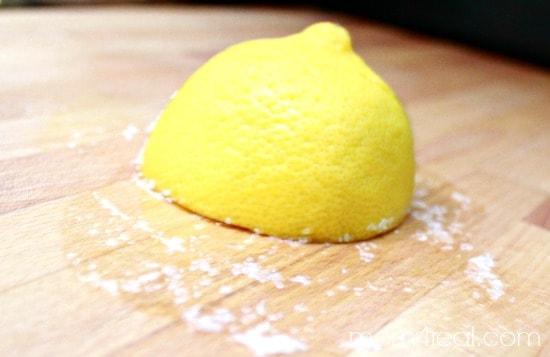 Clean Butcher Blocks with Lemon and Salt