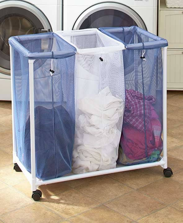 Colored Laundry Bags in Rack