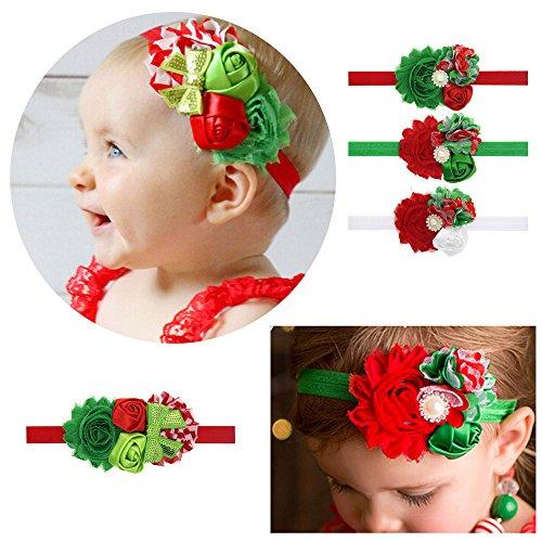 WOMHOPE Merry Christmas Baby Headbands Newborn Bow Chiffon Lace Hair Accessories