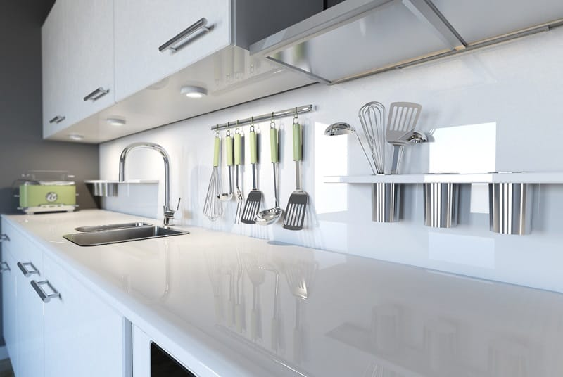 White Glass Kitchen Splashbacks