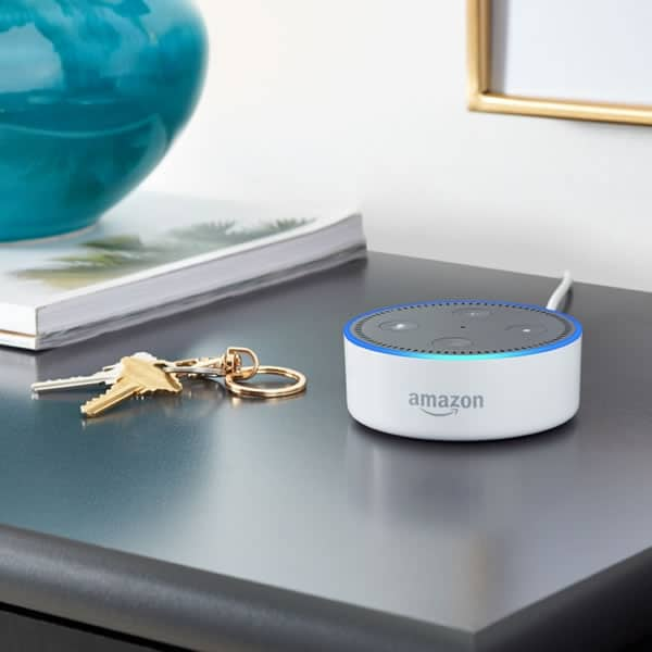 White Echo Dot on Your Desk and Self