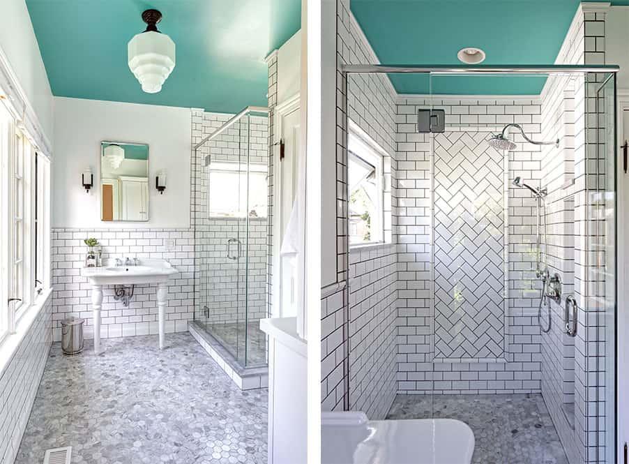 light color palette marble in bathroom