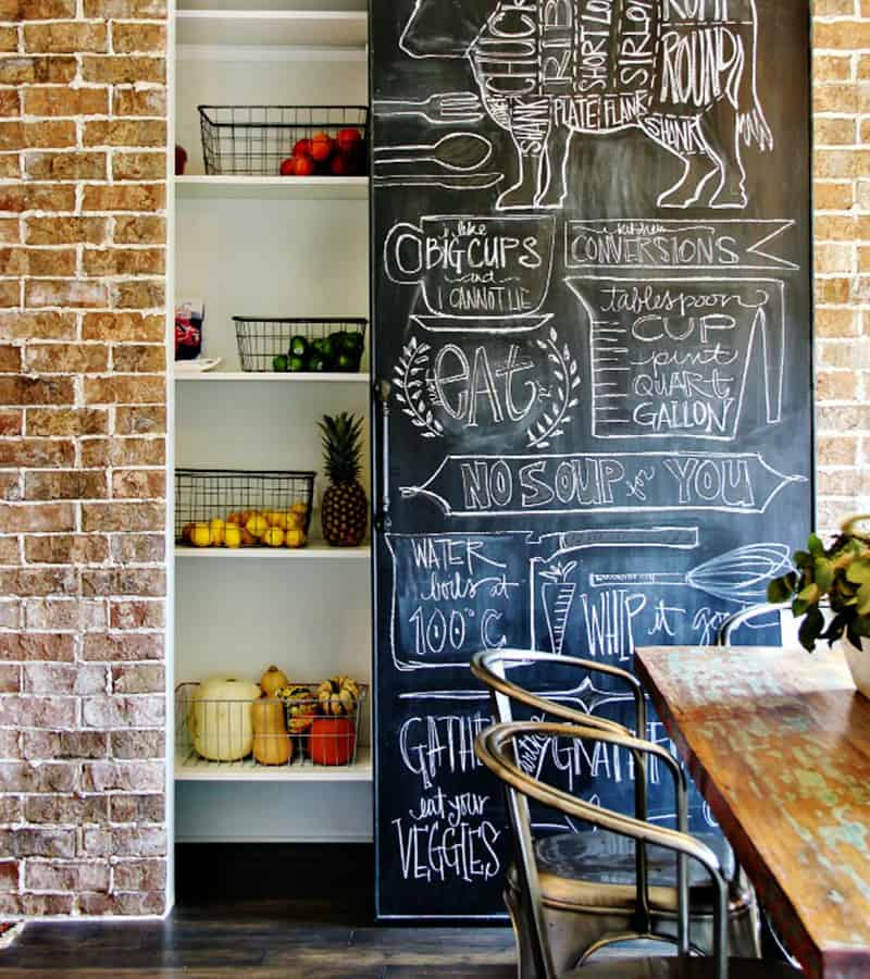 Hanging Chalkboard Pantry Door Idea