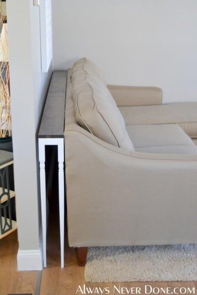 sofa table behind the sofa