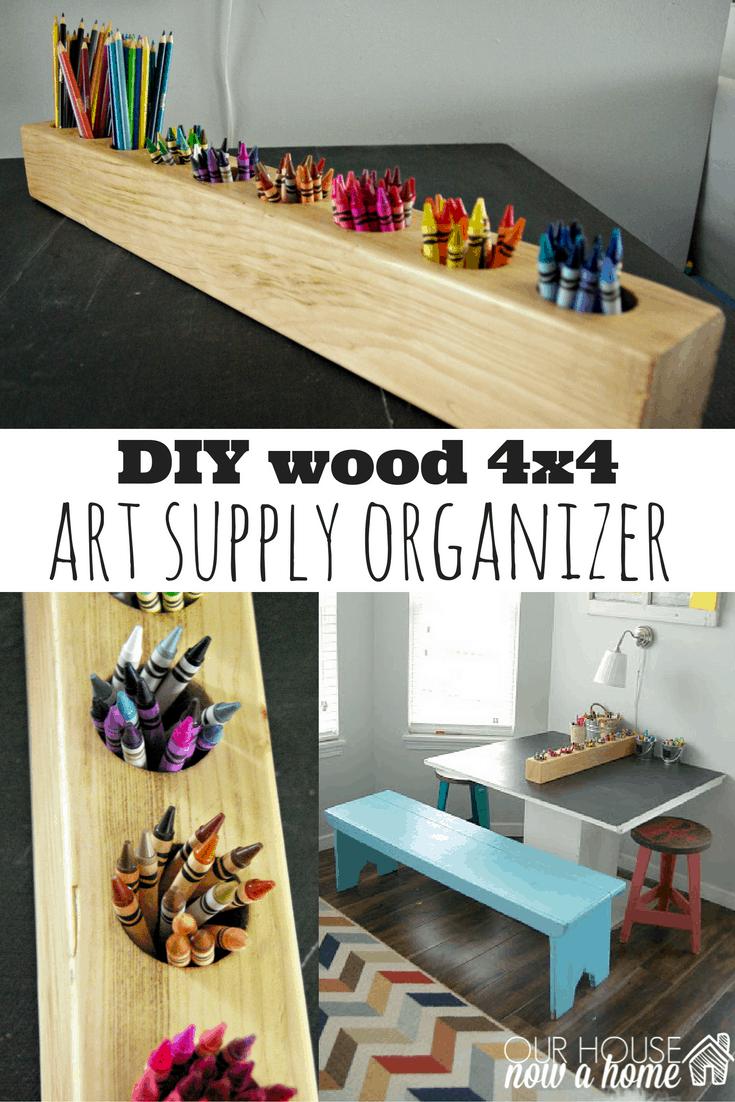 4x4 wood and rustic art supply organizer